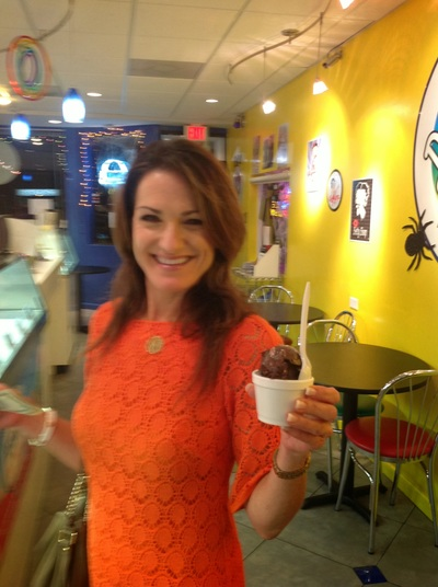Andrea enjoys a scoop of chocolate in Lauderdale-by-the-Sea